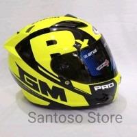 Helm Fullface GM Race Pro ZR Yellow Kuning Single Visor Smoke perka