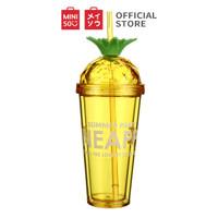 MINISO Botol Minum Tumbler Tempat Air Minum Sedotan Straw Buah 420ml