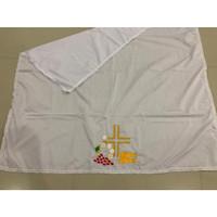 Taplak Meja Altar Putih Bordir 2 Ikan (Uk. 90 cmx115 cm )-taplak putih