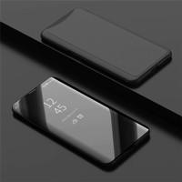 Oppo Find x Flip Clear View Standing Cover Luxury Mirror case - Hitam