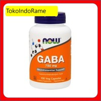 NOW FOODS GABA 750 MG 100 VEG CAPS SUPLEMEN SYARAF ::TIR::