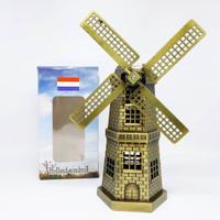 MINIATUR NETHERLANGISH WINDMILLS KINCIR BELANDA HOLLAND BESAR GOLD