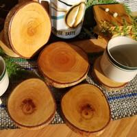 Tatakan Kayu Wooden Coaster Slice 8 cm (WSN-11) ⠀⠀⠀
