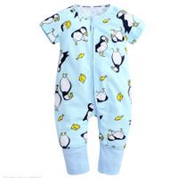 Short Sleeve Zippysuit Motif Penguin - 12-18 Bulan