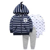Jacket Set Bayi Motif Striped Dino - 9-12 Bulan