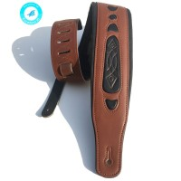 Leather Real Cowhide Strap for Electric Bass Guitar Adjustable Padded