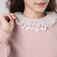 ❀LIDU Layered Lace Lapel Vest Style Pullover Crop Top Stretchy