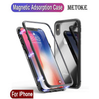 Metoke Magnetic Case For iPhone 6 S 7 8 Plus XR XS MAX Tempered