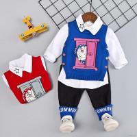 (PROMO) ♕ babyme Set 3Pcs Sweater Kaos Bayi Laki-laki Tanpa Lengan