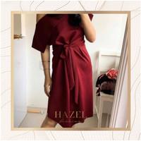 Dress Midi Wrap Wanita Baju Pesta Casual Murah Premium Kantor Korea - Cokelat Susu