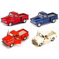 KiNSMART Set of 4 Trucks:1955 Chevy Stepside Pickup Truck with Pull Ba