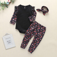 Summer Baby Girl Long Sleeve Romper Top Floral Trousers Headband