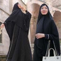 Gamis Set Hijab Fashion Pakaian Wanita Muslim Fathiyah Emboss Polkadot