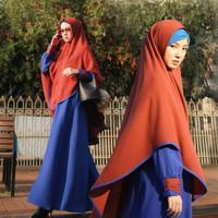 Gamis Set Hijab Fashion Pakaian Wanita Muslim Shalimar Electric Blue