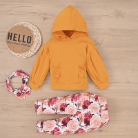 Baby Girl Autumn Casual Solid Color Hooded Top Floral Pant Headband