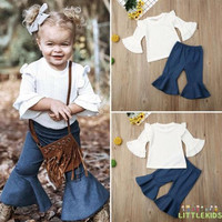 XZQ-Autumn Newborn Baby Girl Trumpet Sleeve Top Flared Trouser Pants