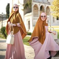 Gamis Set Hijab Fashion Pakaian Wanita Muslim Aulia Aleya Pink Olive