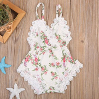 Newborn Baby Girls Rompers Lace Floral Jumpsuit Outfits Sunsuit
