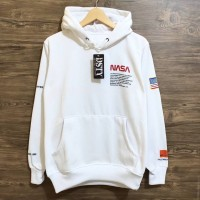 jaket sweater nasa usa hoodie best seller fashion pria wanita - Putih, XXL