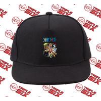 Topi Snapback Cotton Anime One Piece Mugiwara Pirates Straw Hat