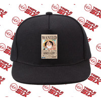 Topi Snapback Cotton Anime Monkey D luffy Wanted One Piece