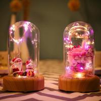 Speaker BluetoothLampu LED Bunga Mawar Segar/Sinterklas Dalam Gelas