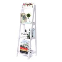 4-Tier Ladder Storage Shelf Bookshelf Book Rack Magazine
