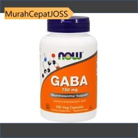 NOW FOODS GABA 750 MG 100 VEG CAPS SUPLEMEN SYARAF //MCJ