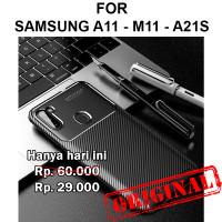 Auto focus carbon soft case Samsung A11 - M11 - A21s casing cover tpu - A11 M11, Black