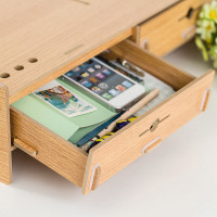 Wooden Monitor Stand Computer Desk Shelf with Mouse Storage Slots