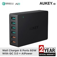 Promo Awal Tahun Aukey Charger 6 Port 60W USB Quick Charge 3 0 AiPo