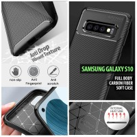 Samsung Galaxy S10 - Full Body Carbon Fiber Soft Case