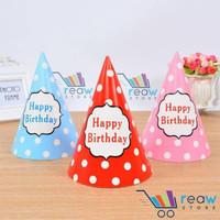 Unik Topi Ulang Tahun Happy Birthday Polkadot Tulisan Happy