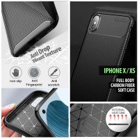 iPhone X - XS - Full Body Carbon Fiber Soft Case