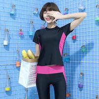 Baju Renang Lengan Pendek Dan Celana Boxer Ukuran Besar Untuk Wanita