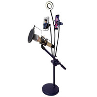 Microphone Stand Lazypod with 2xSmartphone Holder & Ring Light RT-222B