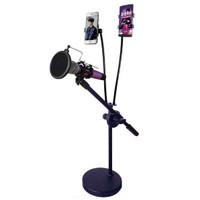 Fasdga Microphone Stand Flexible Lazypod 2xSmartphone Holder - RT-222
