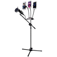 Microphone Standing Holder Tripod with 3 x Smartphone Holder - NB04P