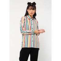 Colorbox Printed Stripes Loose Shirt I:Blwfjn221A016 Off White