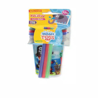Nuby Baby Wash or Toss Straw Cups with Lids 3PK