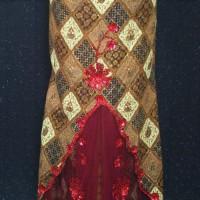 BP-105.34e.mr Rok kebaya modern emas jala merah variasi payet size XXL (Kode BP-105.34e.mr)