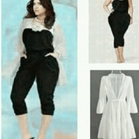 Big size Jumpsuit With Cardigan