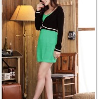 Green Dress With Black Cardigan