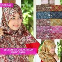 Jilbab Segi empat bolak balik motif batik