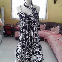 Dress Bunga white free syal