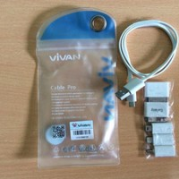 Kabel Power Bank Vivan Set Pro with Konektor Iphone 5 6 Ipad Mini
