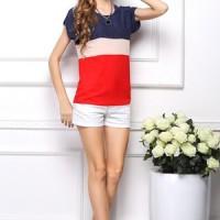 T-Shirt Tops Blouse Garis Biru-Merah