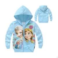 Jaket hoodie anak perempuan Disney blue Frozen jacket biru