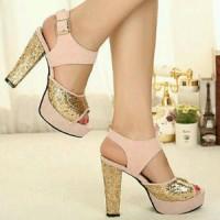 heels peach gliter