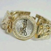 Jam Tangan Guess Rantai Kepang Gold Ladies Kw Super